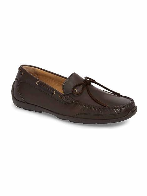 Mens Tangier Leather Slip-On Driving Shoe (Dark Brown 10)