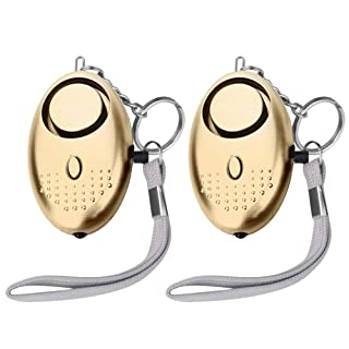 Hitcoo Personal Safety Alarm Keychain Hitcoo 130dB Emergency Security Alarm with LED Flashlight, Safesound self Defense Personal Alarm for Women, Elderly, Students, Kids, Girls, 2 Piece