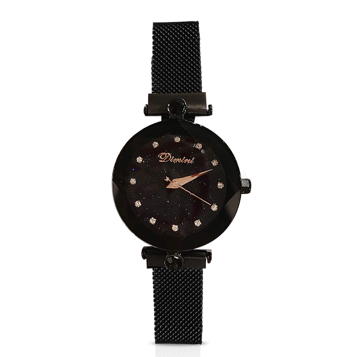RORIOS Fashion Analogue Quartz Watches Magnetic Mesh Band Starry Sky Dial Simulated Diamond Wrist Watches for Girl/Women Waterproof