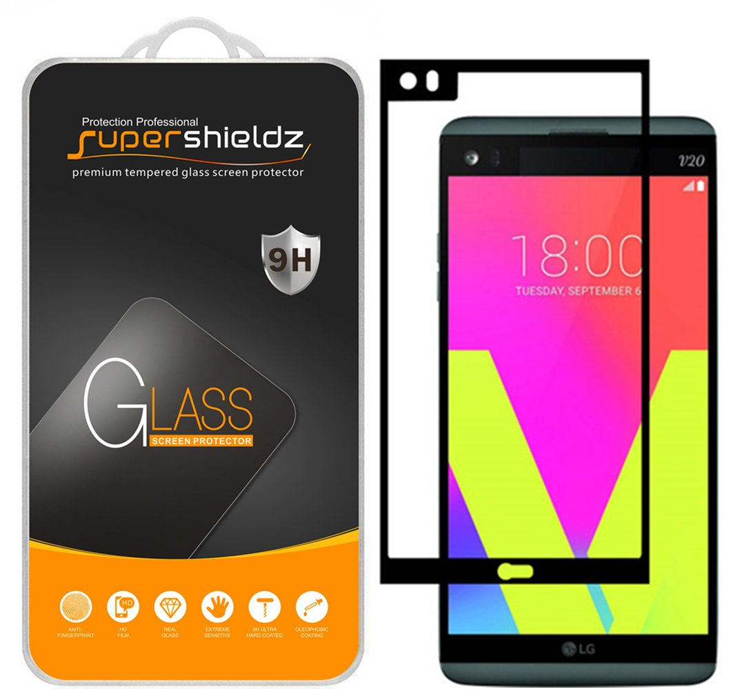 Supershieldz for LG V20 Tempered Glass Screen Protector, (Full Screen Coverage) Anti Scratch, Bubble Free (Black)