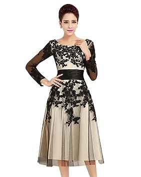 MissFox Elegante Vestido Túnica Para Mujer Con Bordado Manga Larga 4Xl Negro