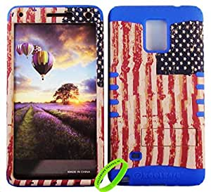 Cellphone Trendz HARD & SOFT RUBBER HYBRID ROCKER HIGH IMPACT PROTECTIVE CASE COVER for Samsung Galaxy Note 4 - Rustric American Flag Design Hard Case on Turquoise Silicone