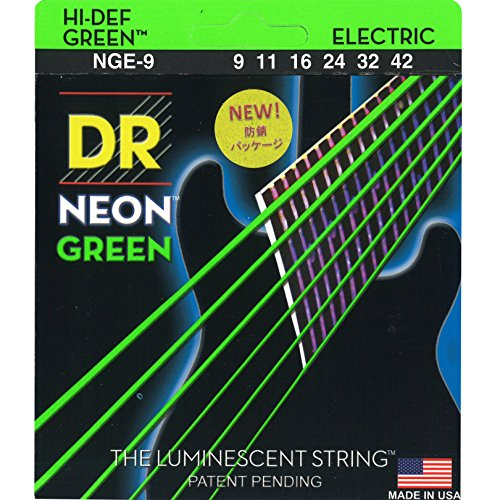DR Strings NGE-9  Coated Nickel Electric Guitar Strings, Light