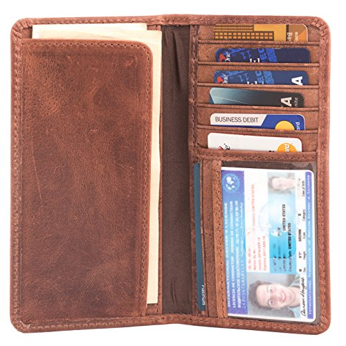 RAWHYD Full Grain Leather Long Bifold Wallet for Men | Perfect Checkbook Cover | Tall Cowboy Wallet (Hunter Brown)