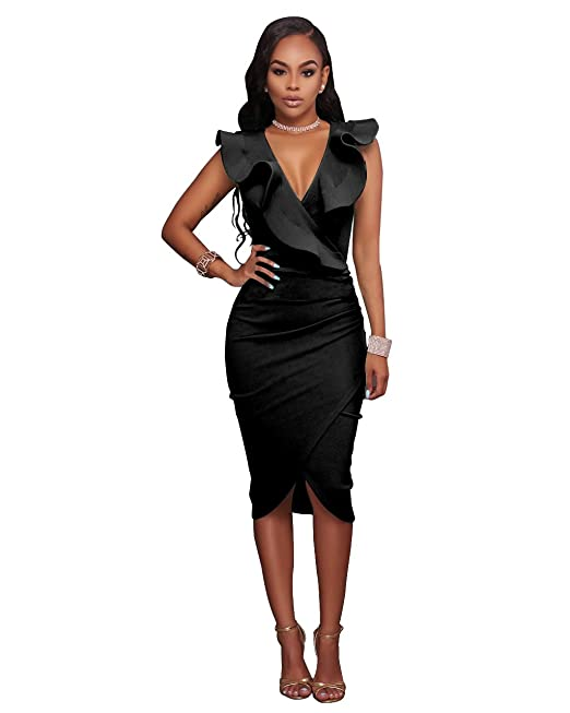 ffb7ddfc641a VERTTEE V Neck Ruffle Plain Bodycon Sleeveless Midi Tight Wrap Women Dress  (S, Black