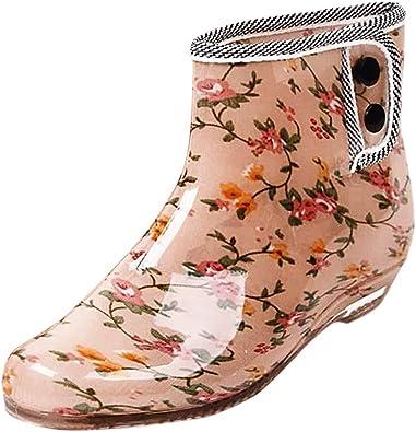 YWLINK Botas De Lluvia De Jalea Moda para Mujer Tubo Corto Hebilla De JardíN Antideslizante Zapatos De Agua Zapatos Establecidos Botas De Nieve Transpirable TamañO Grande PVC Casual: Amazon.es: Zapatos y complementos