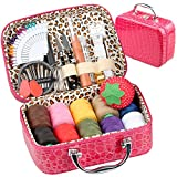 PU Leather Bag Sewing Kit OHYEYE, Sewing Supplies with 85 Sewing Accessories Kit,Mini Sew Basket for Adults,Beginner,Travel and Craft Gift