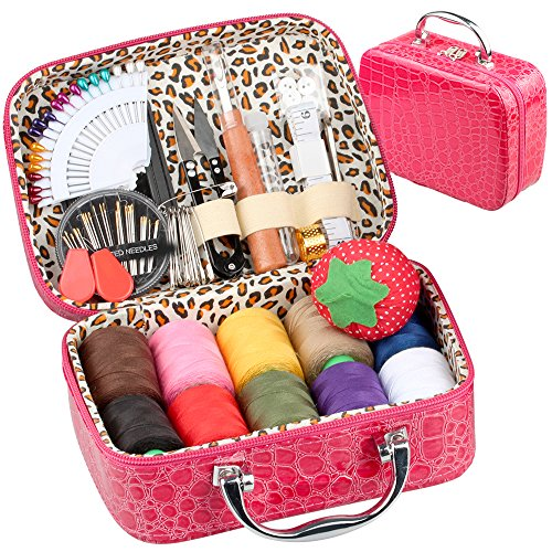 PU Leather Bag Sewing Kit OHYEYE, Sewing Supplies with 85 Sewing Accessories Kit,Mini Sew Basket for Adults,Beginner,Travel and Craft Gift by OHYEYE