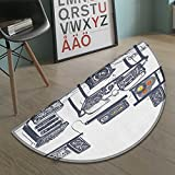 Modern Half Round door mats for inside Recording Studio with Music Devices Turntable Records Speakers Digital Illustration Bath Mat for tub Bathroom Mat Cadet Blue size:35.5''x23.7''