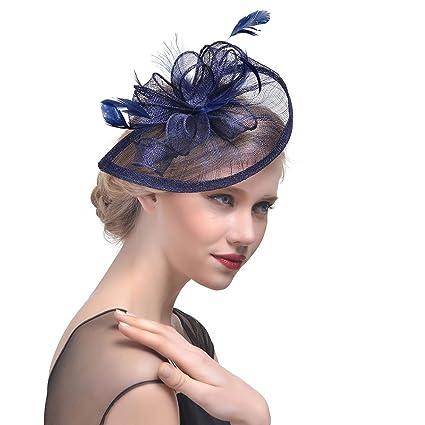 StageOnline Donne Cappelli Cerimonia Piuma Fiore Partito Matrimonio  Decorazione Cappello per Partito Matrimonio 9f9907c0889a