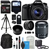 Canon EOS 80D Digital SLR Camera Kit EF-S 18-55mm Image Stabilization STM Lens + .43x Super Wide Angle & 2.2X HD Telephoto Lens + X2 32GB Memory Cards + Flash + Filters + DigitalAndMore PRO Bundle