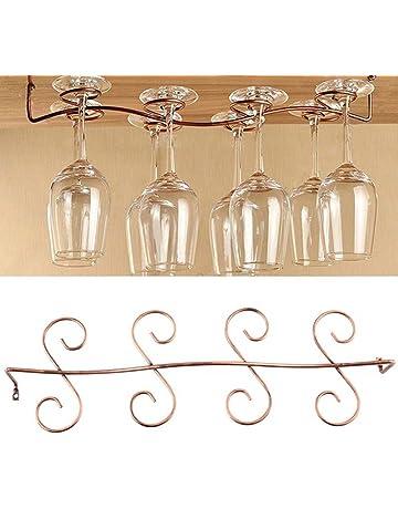 Estante de cristal chapado en latón, 8 colgadores de cristal para copas de vino,
