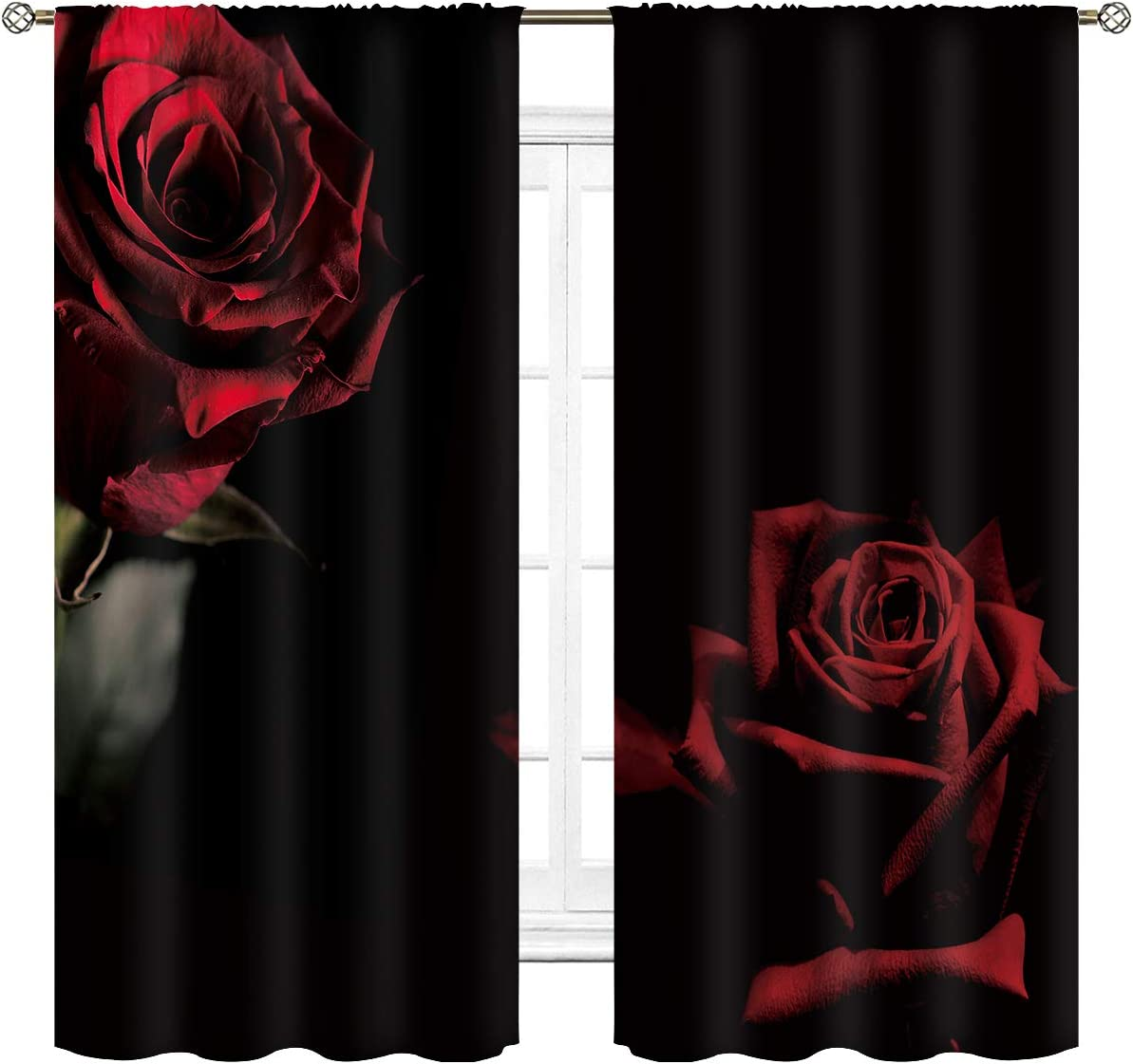 Cinbloo Red Rose Curtains Black and Red Floral Women Rod Pocket Flower Bedroom Decor FemaleBloom Lover Romantic Burgundy Living Room Window Drapes Treatment Fabric 2 Panels 42 (W) x 63(L) Inch