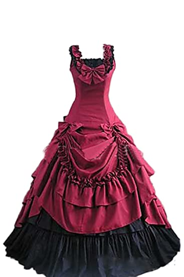 Halloween Lolita Princess Ballgown Dress Victorian Gothic Carnival Fancy  Dress with Bustle Rose Red  Amazon.co.uk  Clothing f48c4a35bb67