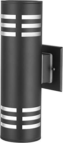 TENGXIN Outdoor Wall Sconce,Up Down Porch Light,Stainless Steel 304 and Toughened Glass,Black Finished,E27,UL Listed,13 Inch Height.