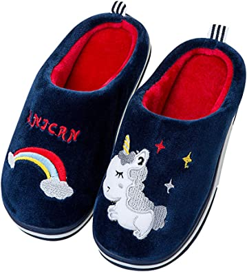 Little Kids Boys Girls Winter Warm Slippers Toddler Indoor Cute Bunny Animals Slip-on Shoes