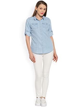 f5fcb940e5cd14 Trendy Frog Women Long Sleeve Denim Solid Shirt Top, Light Blue, X-Large  Size: Amazon.in: Clothing & Accessories