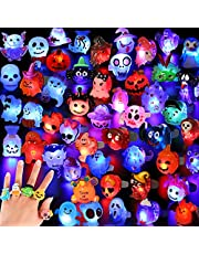 Hekaty 50pcs Halloween Light Up Rings Halloween Treats LED Glow Rings Halloween Party Favors for Kids Adults 3D Flashing Ring Toys Glow in the Dark Rings for Non Candy Gift Bag Fillers Halloween Toys