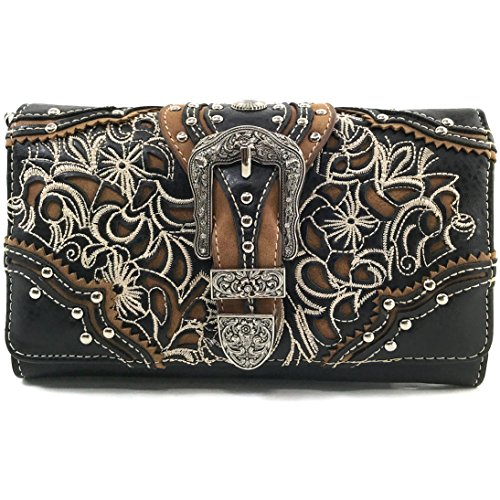 Floral Western Buckle Rhinestone Trifold Embroidery Wallet Black Turquoise Handbag Shoulder Wallet Stone Only West Justin SwYqBx