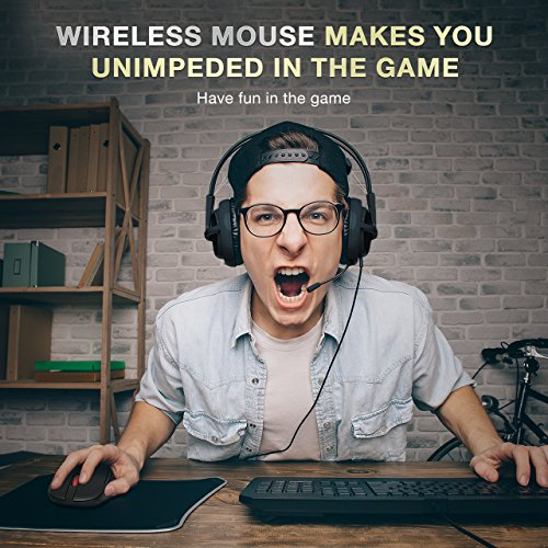 Habor Wireless Mouse, 2.4G Computer Mice Portable Optical Cordless Mouse with USB Receiver, 5 Adjustable DPI Levels, 6 Buttons Wireless Gaming Mouse for Laptop, PC, Macbook - Black by Habor (Image #2)