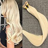 FShine 20 inches 40g Per Package 50 Strands Remy Fusion Tip I Tip Bead Extensions Remy Human Hair Color #613 Straight Blonde