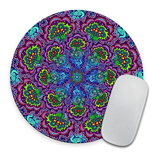Mandala Mousepad - Mat - Round - Bright Bold Colors - Purple - Blue - Yellow - Green - Flower Mouse pad Coworker Office Gift