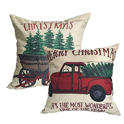 ULOVE LOVE YOURSELF 2Pack Merry Christmas Pillow Cover with Christmas Tree and Vintage Red Truck Pattern Cotton Linen Home Decorative Throw Cushion Case 18 x 18 inch (Christmas-1) best Christmas throw pillows
