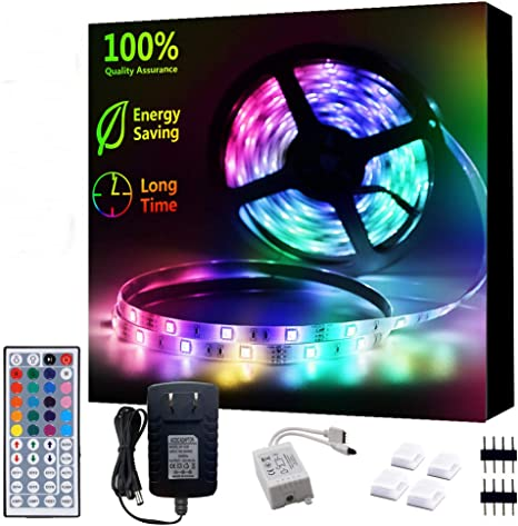 Details about  /16.4 Feet RGB Waterproof LED Strip Light SMD with 44 Key Remote 12V+Power Supply