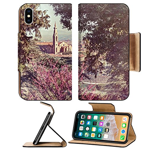 MSD Premium Apple iPhone X Flip Pu Leather Wallet Case view of the cathedral Santa Croce in Florence Tuscany Italy framed with green leaves and flowers image filtered to simulate a vin