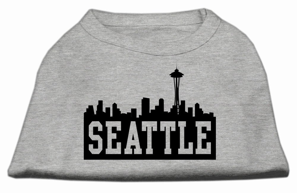 Mirage Pet Products 8-Inch Seattle Skyline Screen Print Shirt for Pets, X-Small, Grey