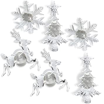 Holiday Window Decorations Assorted Set Of 6 Reindeer Christmas Tree And Snowflake Led Color Changing Lights Battery Operated Christmas