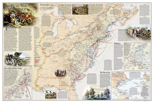 National Geographic: Battles of the Revolutionary War and War of 1812: 2 sided Wall Map - Laminated (36 x 24 inches) (National Geographic Reference Map)