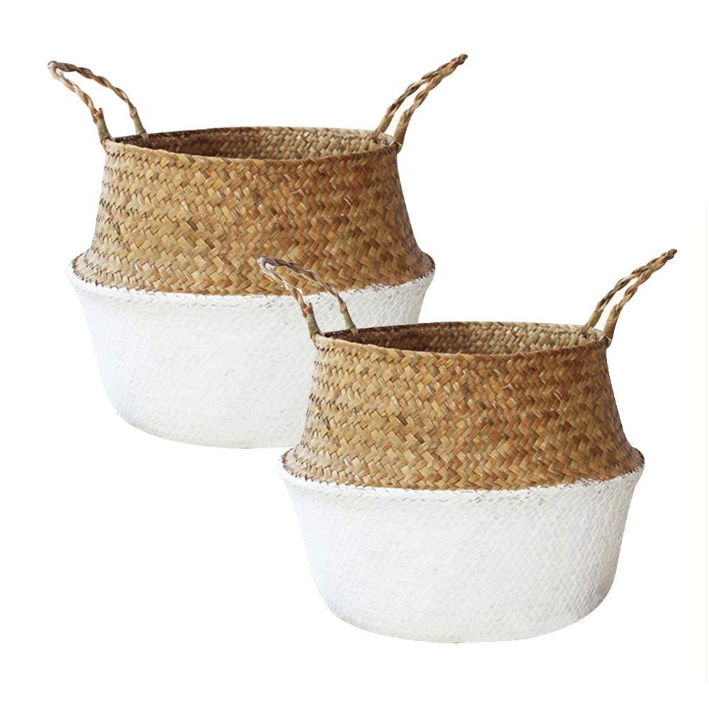 DUODE Decorativo cesta de lavadero plegable cesta de lavadero Haushaltsdekor- cesto de la ropa plegable cesta tejida paja, pot-cesta con mango natural de color duradero DUOHEDUO
