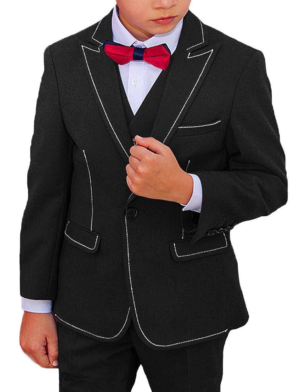 DGMJ Wedding Suits for Boys Slim Fit Fashion 3 Piece Boy Formal Dresswear Set for Birthday HTXZ010