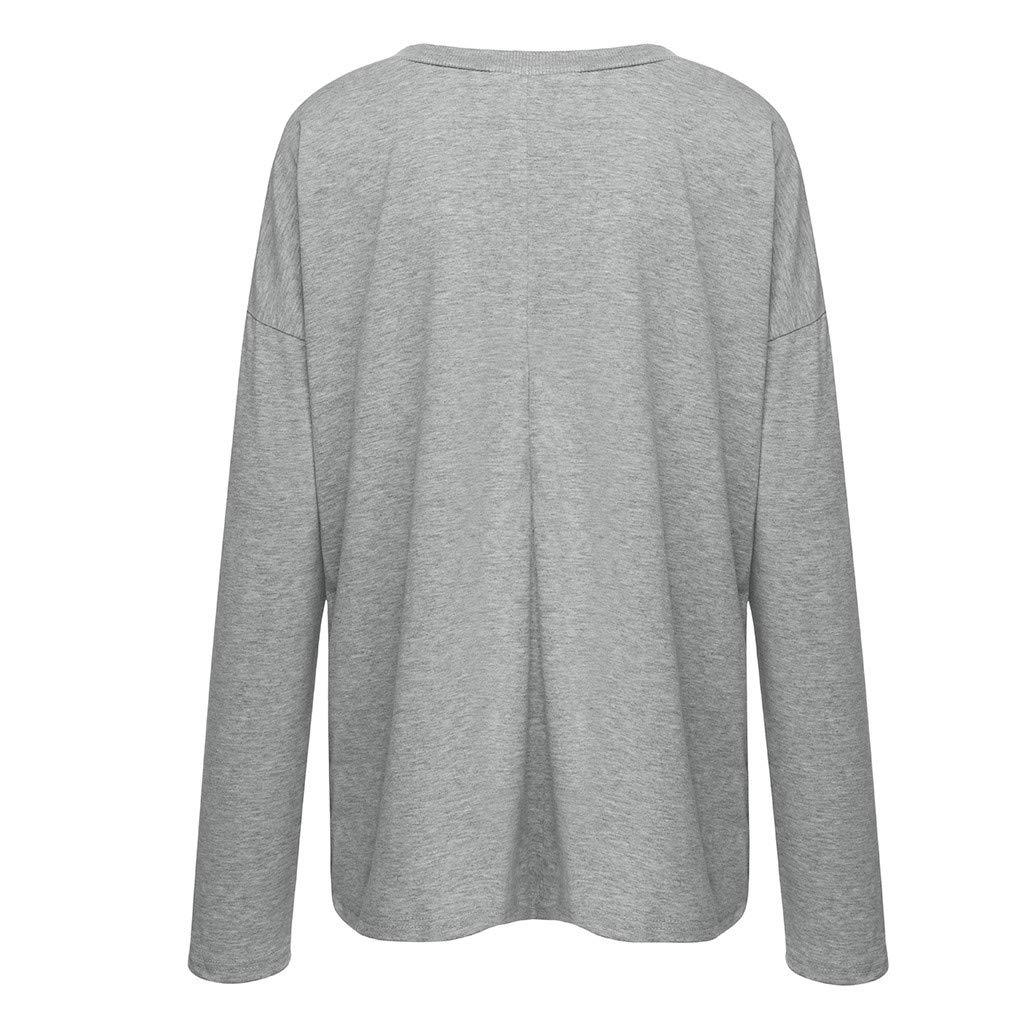 Luckycat Camiseta de Las Mujeres Oto/ño Invierno Color S/ólido Tallas Grandes Manga Larga Camisas Cuello en V B/ásica Blusas Casual Deporte Pullover Fiesta Hermoso Tops con Encaje
