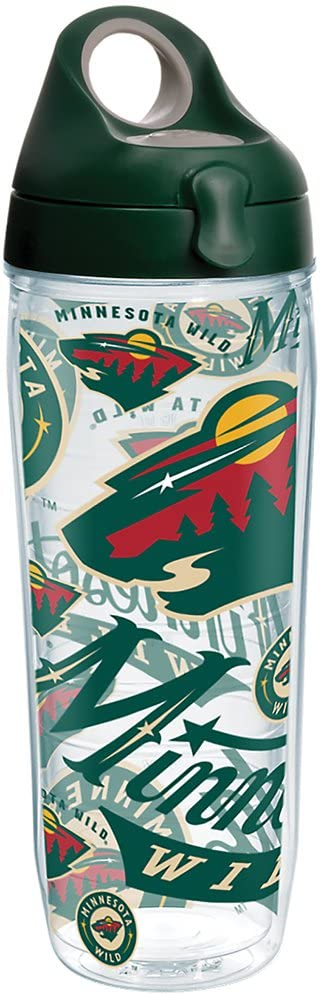 Tervis NHL Minnesota Wild All Over Tumbler with Wrap and Hunter Green with Gray Lid 24oz Water Bottle, Clear