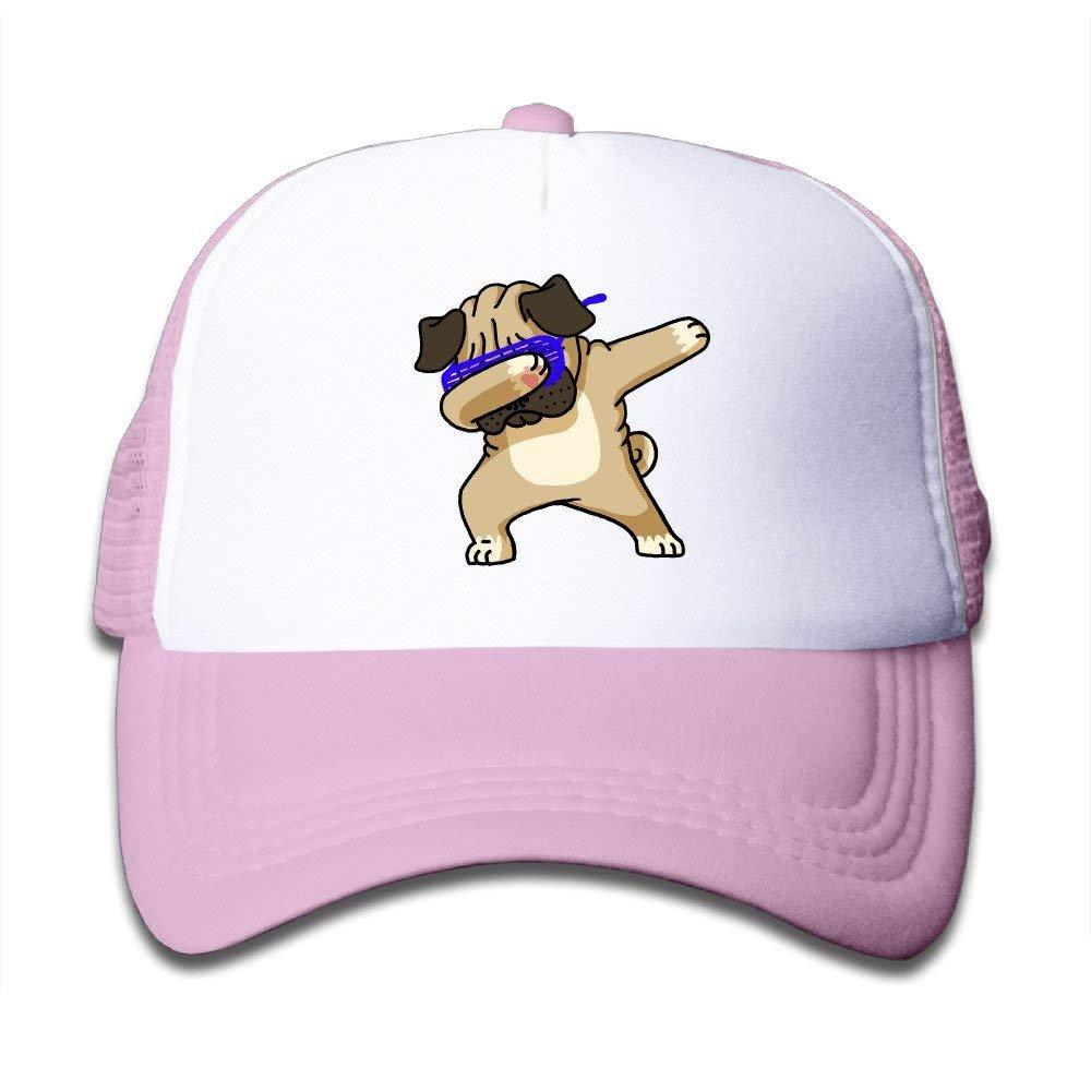 Dabbing Pug Funny Hip Pug Kids Mesh Cap Trucker Hats Adjustable Pink