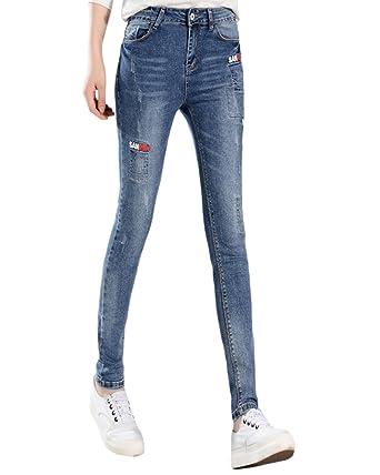 Saideng Pantalon Stretch Crayon Femme Rétro Skinny Fit Slim Rustine Nnm0w8