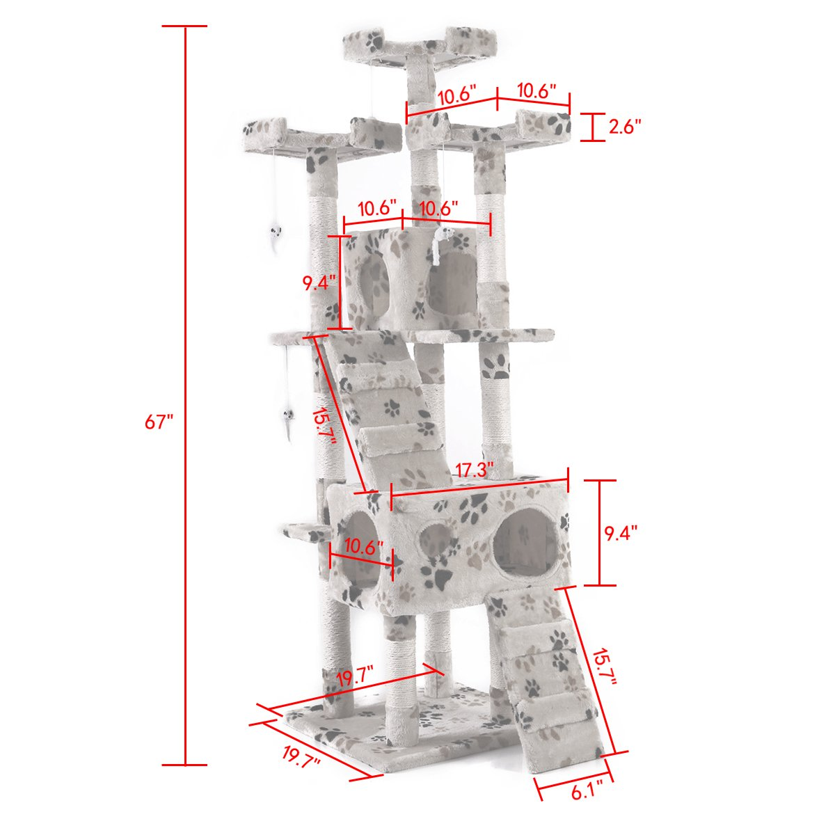 LAZYMOON 67'' Cat Tree 4-Tier Tower Condo Play House Furniture w/ Scratching posts and Toy Mouse Beige with Footprint by LAZYMOON (Image #2)