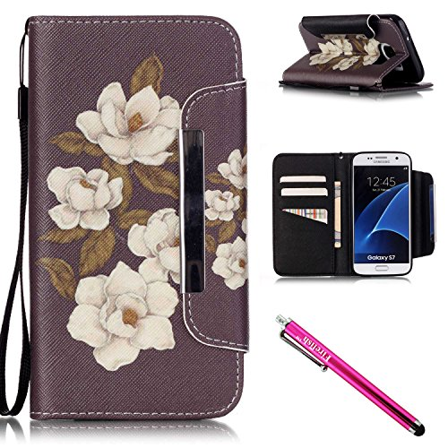 Price comparison product image Galaxy S7 Case, Firefish Kickstand Flip [Card Slots] Wallet Cover Double Layer Bumper Shell with Magnetic Closure Strap Case for Samsung Galaxy S7-Begonia