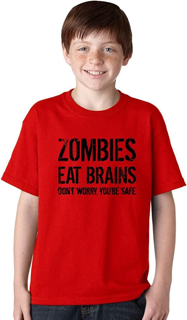 ZOMBIES EAT BRAINS YOURE SAFE Ladies Funny T-Shirt Novelty Unisex Halloween Top
