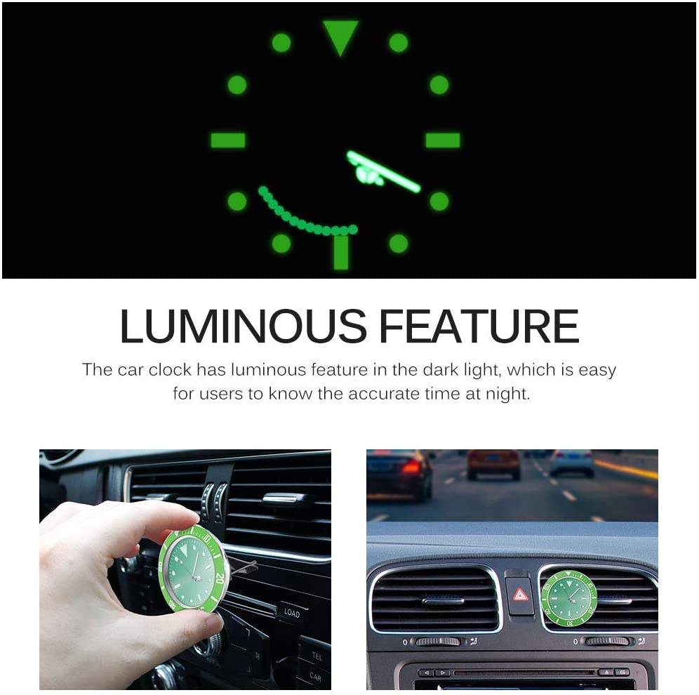 2 PCS, Schwarz Nachts leuchtend mit 3M Aufkleber ALLOMN Auto Uhr 5 /× 5cm Auto Air Vent Uhr Auto Quarzuhr Auto Dekoration Uhr Auto Armaturenbrett Uhr