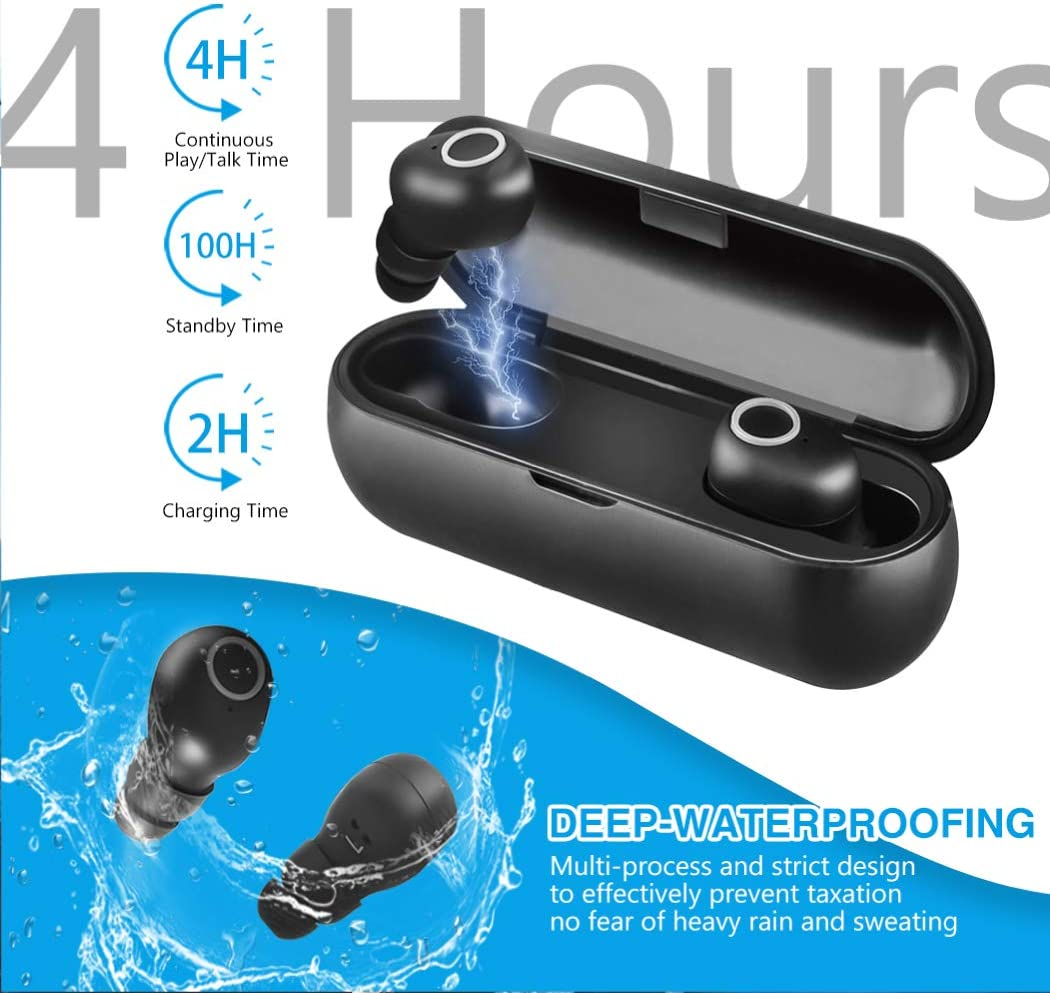 Wireless Headphones Bluetooth Earbuds, Bluetooth 5.0 Waterproof Headphones 3D Stereo Noise Reduction Fitness Earbuds Earphone for iOS, Android with Microphone,Magnetic Charging case s1