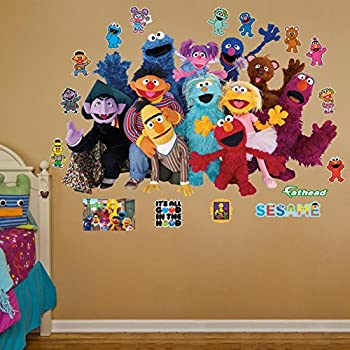 roommates jl1213m sesame street prepasted chair rail wall mural home improvement. Black Bedroom Furniture Sets. Home Design Ideas