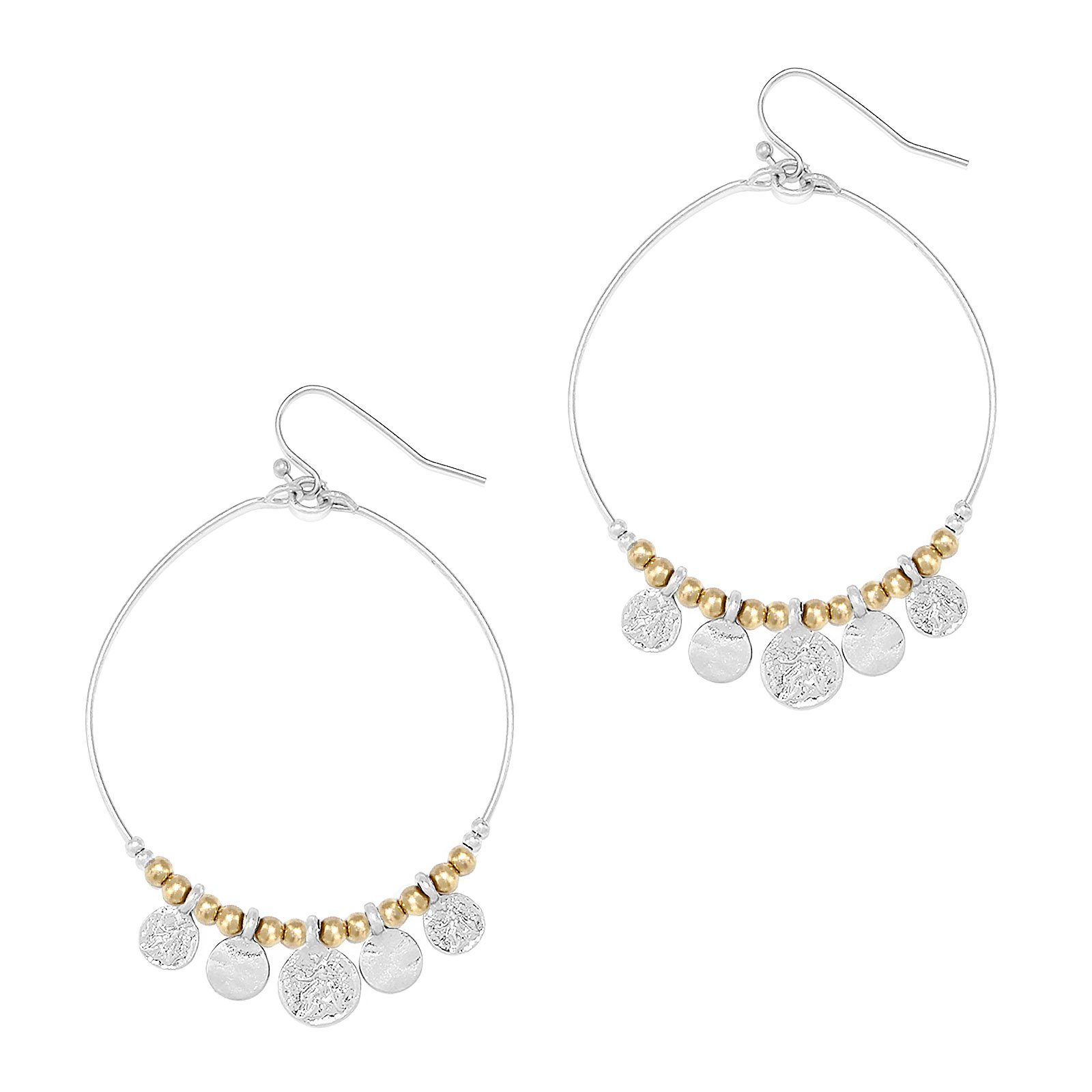 Pomina Metal Beaded Hoop with Coin Charms Drop Earrings (Worn Silver)