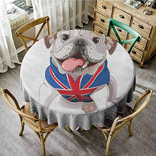 Suchashome Printed Tablecloth English Bulldog Happy Dog Wearing a Union Jack Vest Cartoon Style Animal Design Cream Navy Blue Red Reusable Round Tablecloth Diameter 60