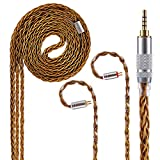 8 Core Pure Silver Earphone Cable 2 Pin 4 Pole 2.5mm Balanced Cable, Upgrade HiFi Audio Cable Replacement Earphone Cable Audio Wire (2Pin Connector, 2.5MM Audio Jack)