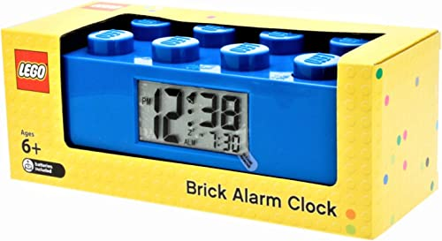 Lego 9002151 Blue Brick Kids Light Up Alarm Clock Blue Plastic 9.5 inches Tall LCD Display boy Girl Official