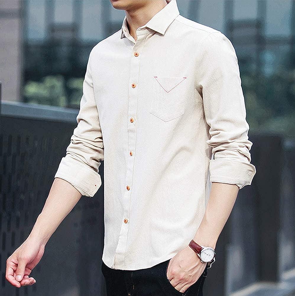 IDEALSANXUN Mens 100/% Cotton Standard-Fit Long Sleeve Button Down Shirt