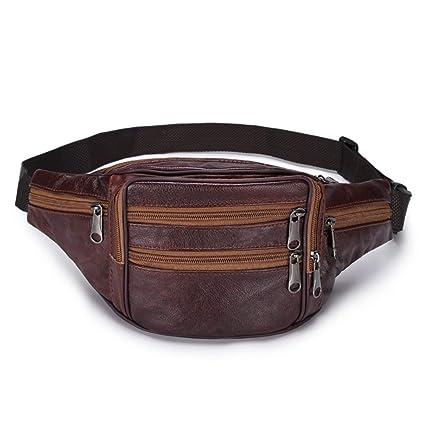 9d5d22848346 Amazon.com: Canyixiu-s Soft Leather Waist Bum Bag with 7 Zip Pocket ...